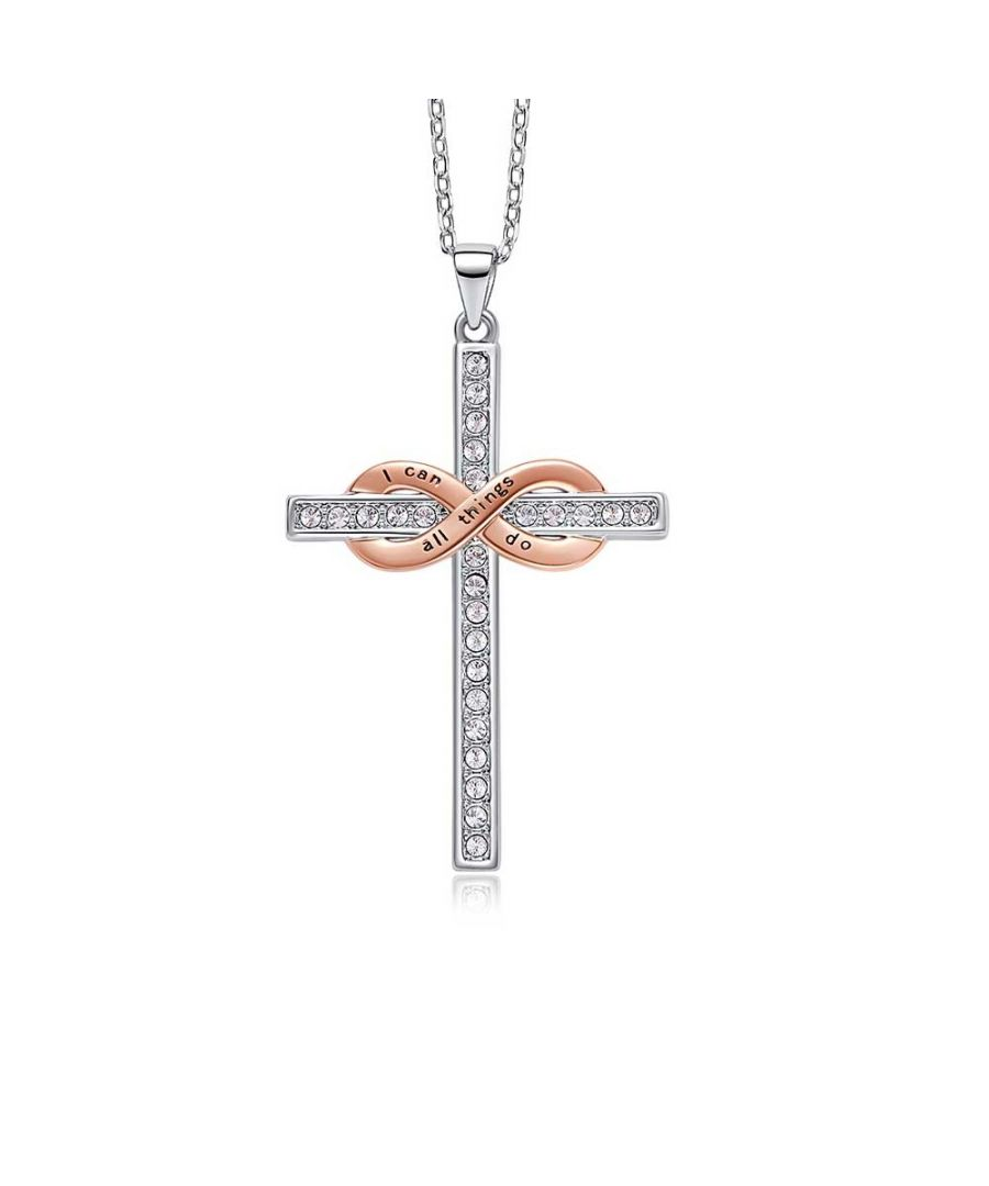 Image for Swarovski - Women's Cross and Infinity Pendant Necklace with White Swarovski Crystals