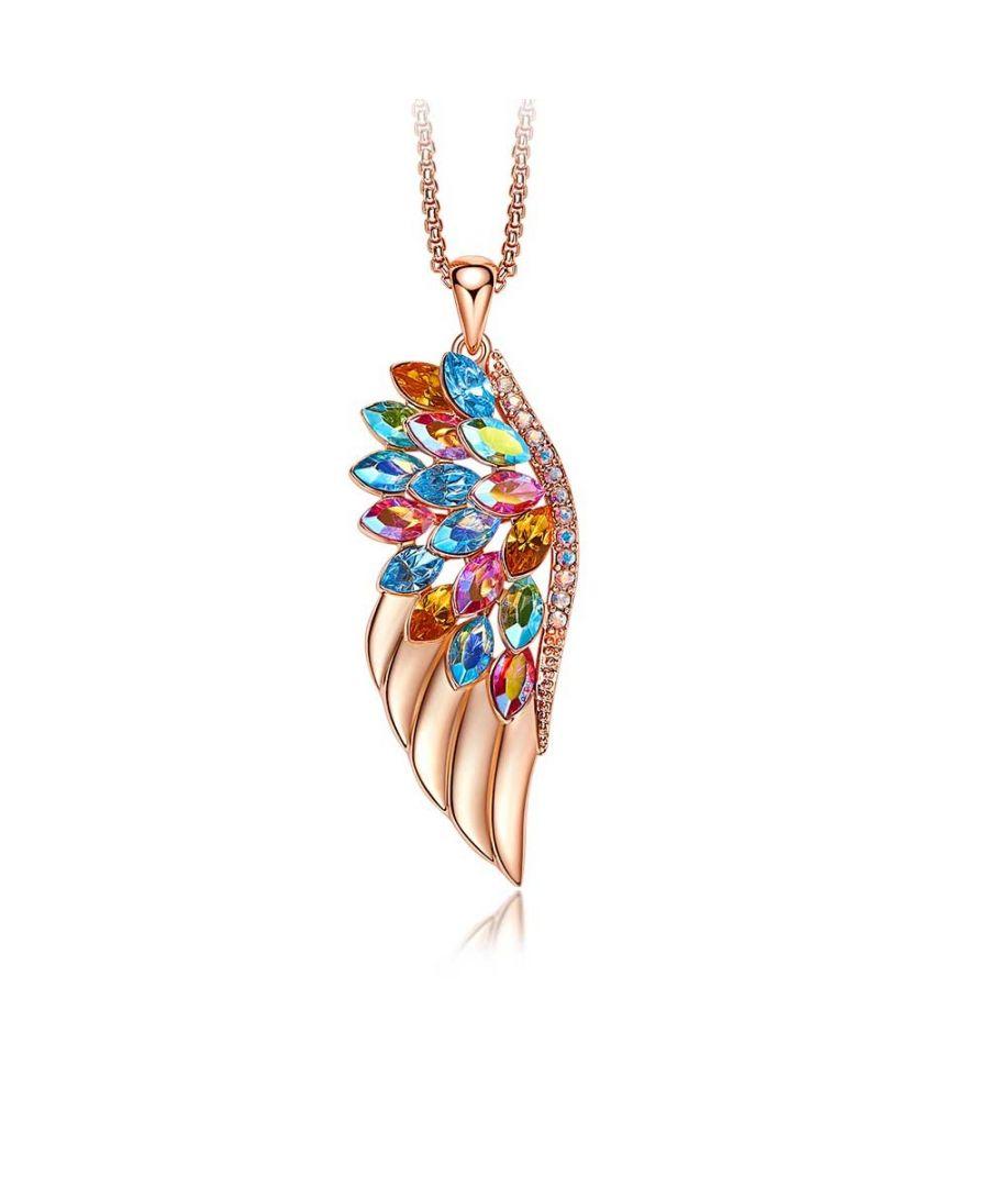 Image for Swarovski - Women's Pendant Necklace Wing and Swarovski Crystal Multicolor