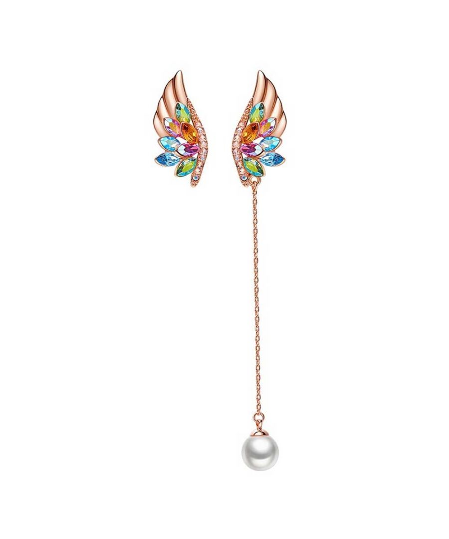 Image for Swarovski - Women's Drop Earrings Wings Pearl and Swarovski Crystal Multicolor