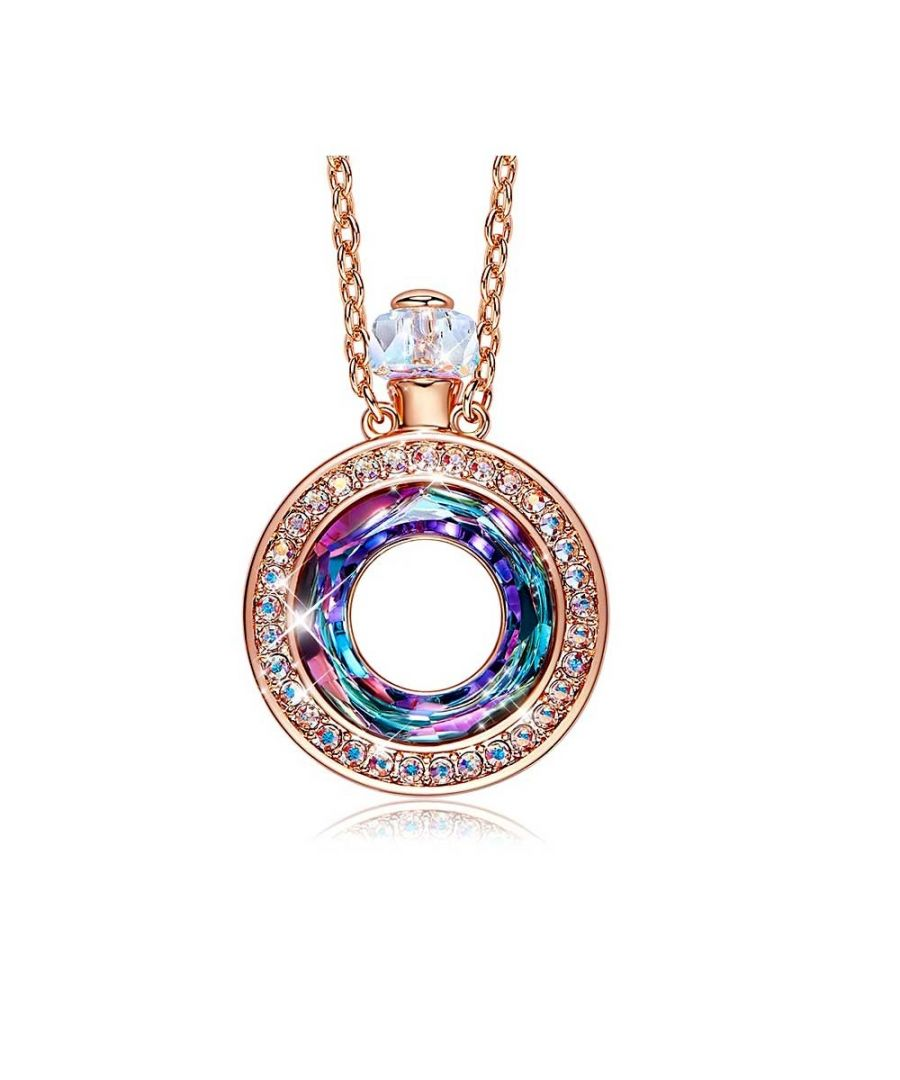 Image for Swarovski - Perfume Bottle Pendant Necklace with Swarovski Crystal Pink Blue Purple