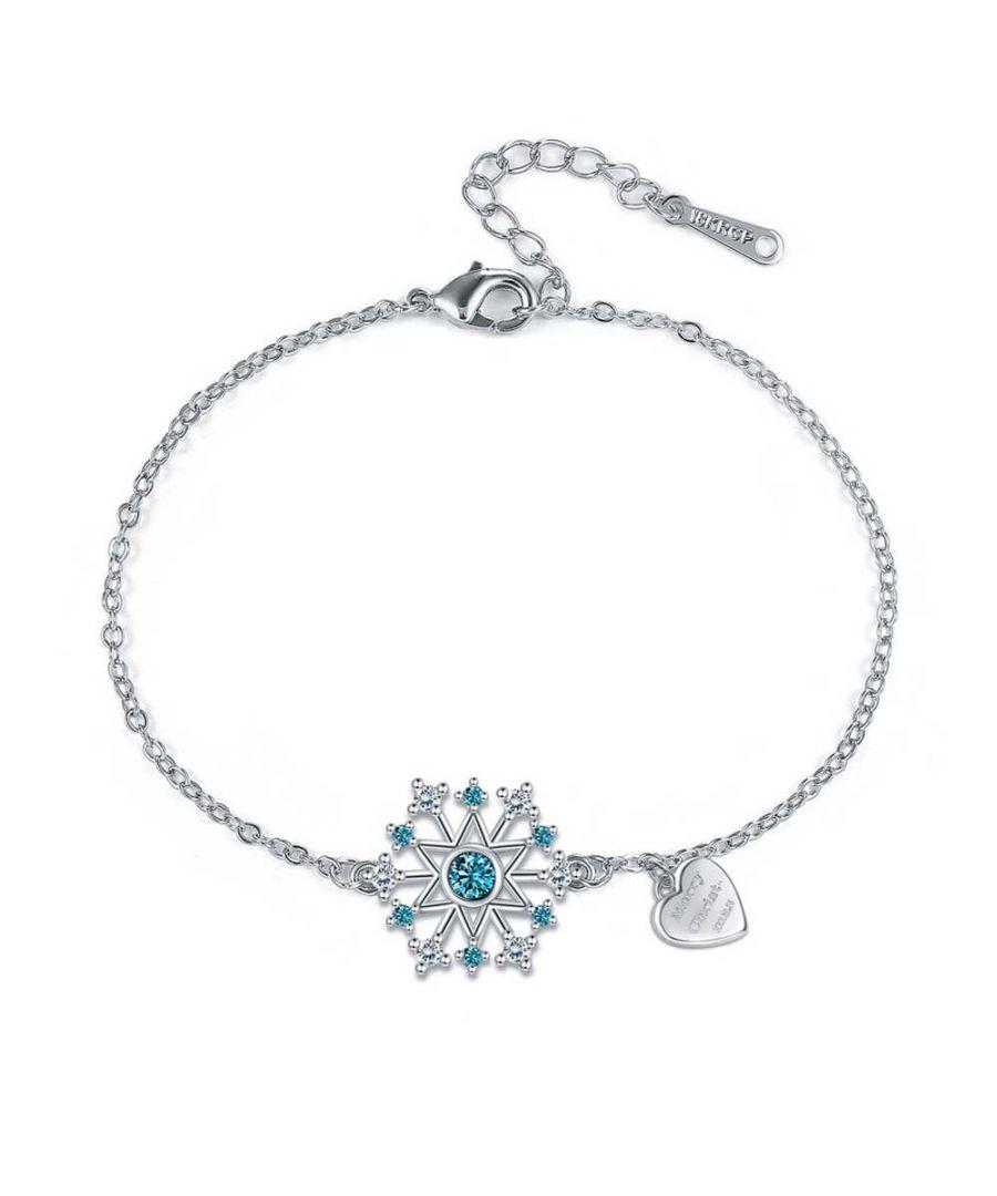 Image for Swarovski - Women's Snowflake Bracelet in White and Blue Swarovski Crystal