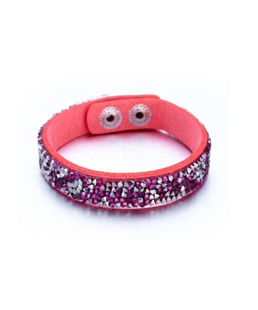 Image for Swarovski - Silvery and Fushia Swarovski Crystal Elements and Pink leather Bracelet