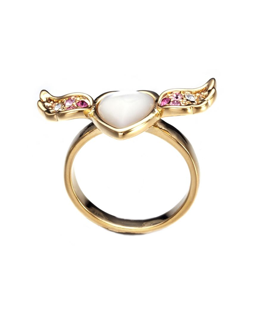 Image for Swarovski - Pink White Swarovski Elements Crystal Heart and Wing Mother of Pearl Ring
