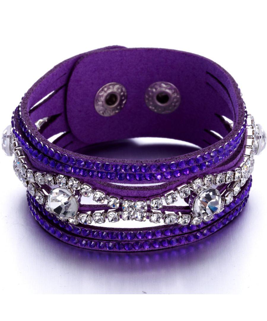 Image for Swarovski - Purple and White Swarovski Crystal Elements and leather Bracelet