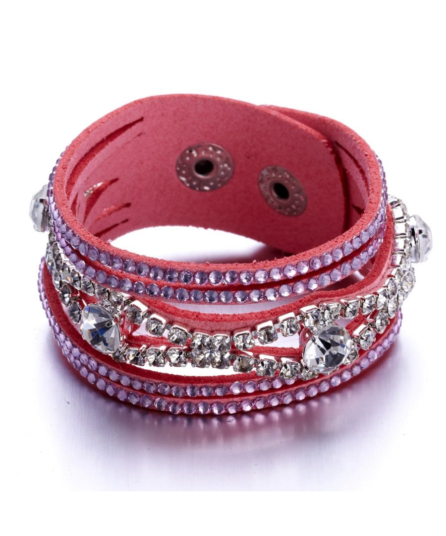 Image for Swarovski - Pink and White Swarovski Crystal Elements and leather Bracelet