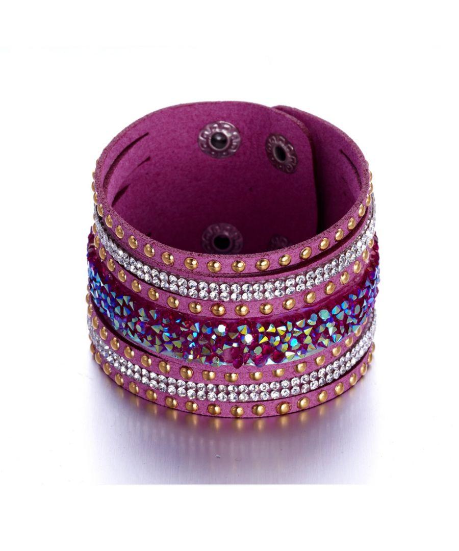 Image for Swarovski - White Swarovski Crystal Elements and pink leather Bracelet