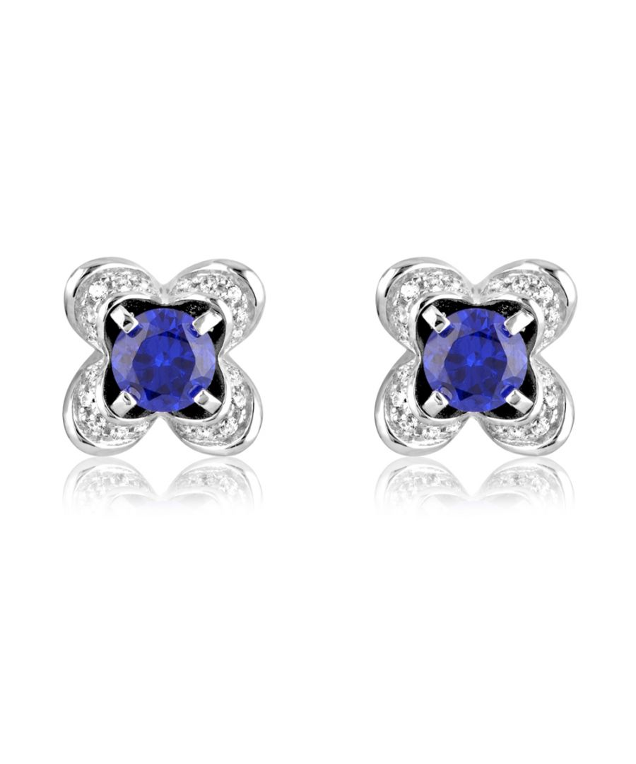 Image for Swarovski - 114 White and Blue Swarovski Crystal Zirconia and 925 Silver Earrings