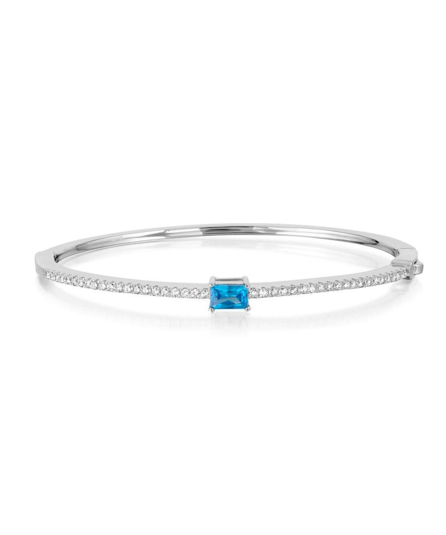 Image for Swarovski - Bangle Bracelet 925 Silver and 43 White and Blue Swarovski Crystal Zirconia