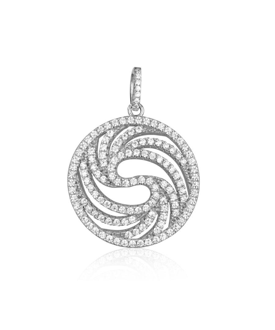 Image for Swarovski - Circle Silver Pendant and 137 White Swarovski Crystals Cubic Zirconia