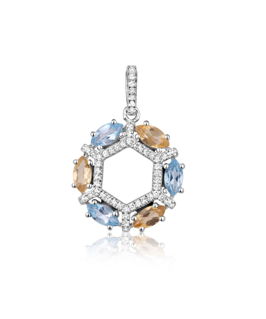 Image for Swarovski - 72 White, Yellow and Blue Swarovski Zirconia crystal Pendant and 925 silver