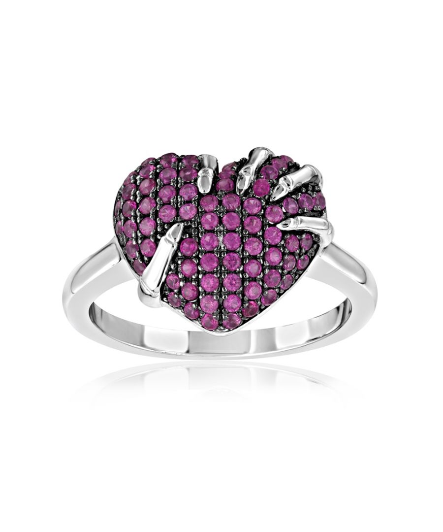 Image for Swarovski - 71 White and Pink Swarovski Crystal Zirconia Heart Ring and 925 Silver