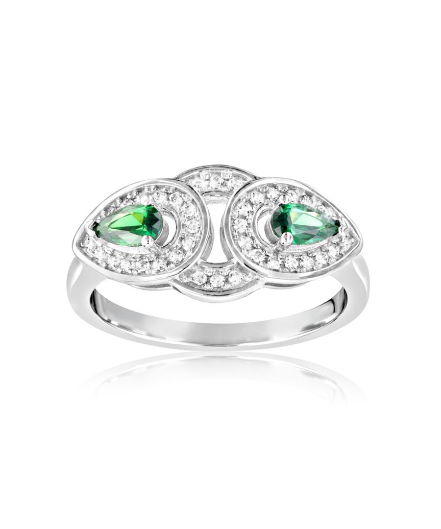Image for Swarovski - 40 White and Green Swarovski Crystal Zirconia Ring and 925 Silver