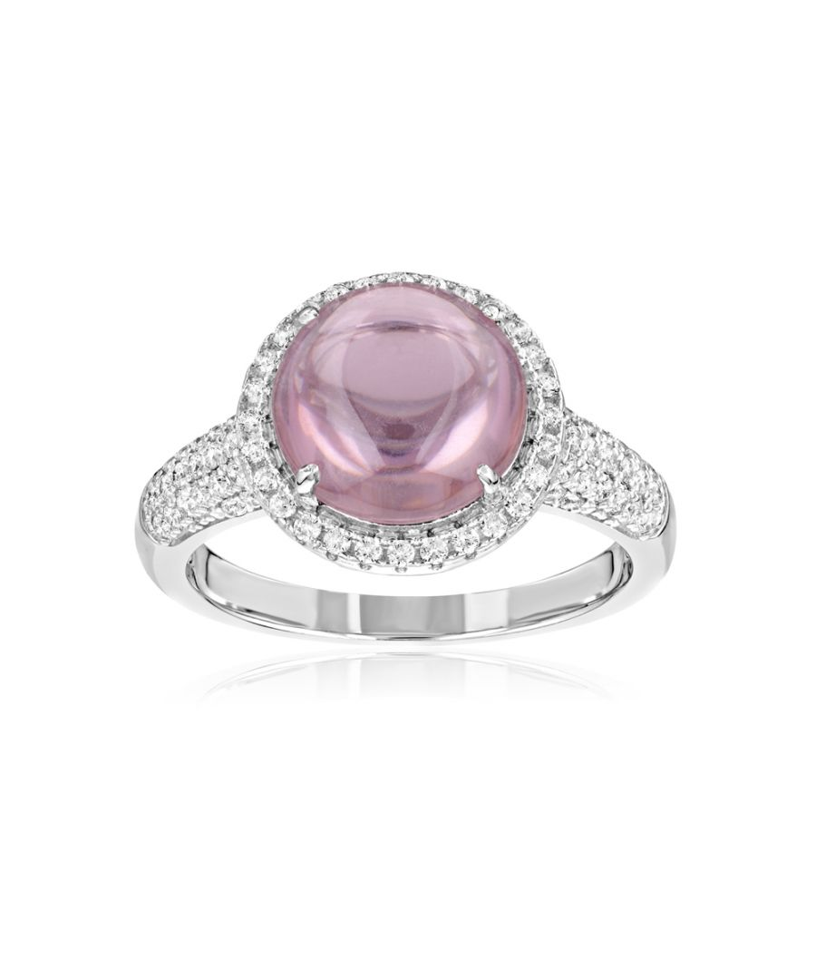 Image for Swarovski - 73 White Swarovski Crystal Zirconia and Pink Natural Stone Ring and 925 Silver