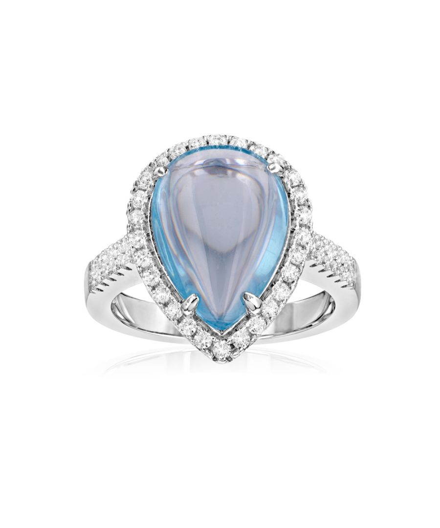 Image for Swarovski - 49 White Swarovski Crystal Zirconia and Blue Natural Stone Ring and 925 Silver