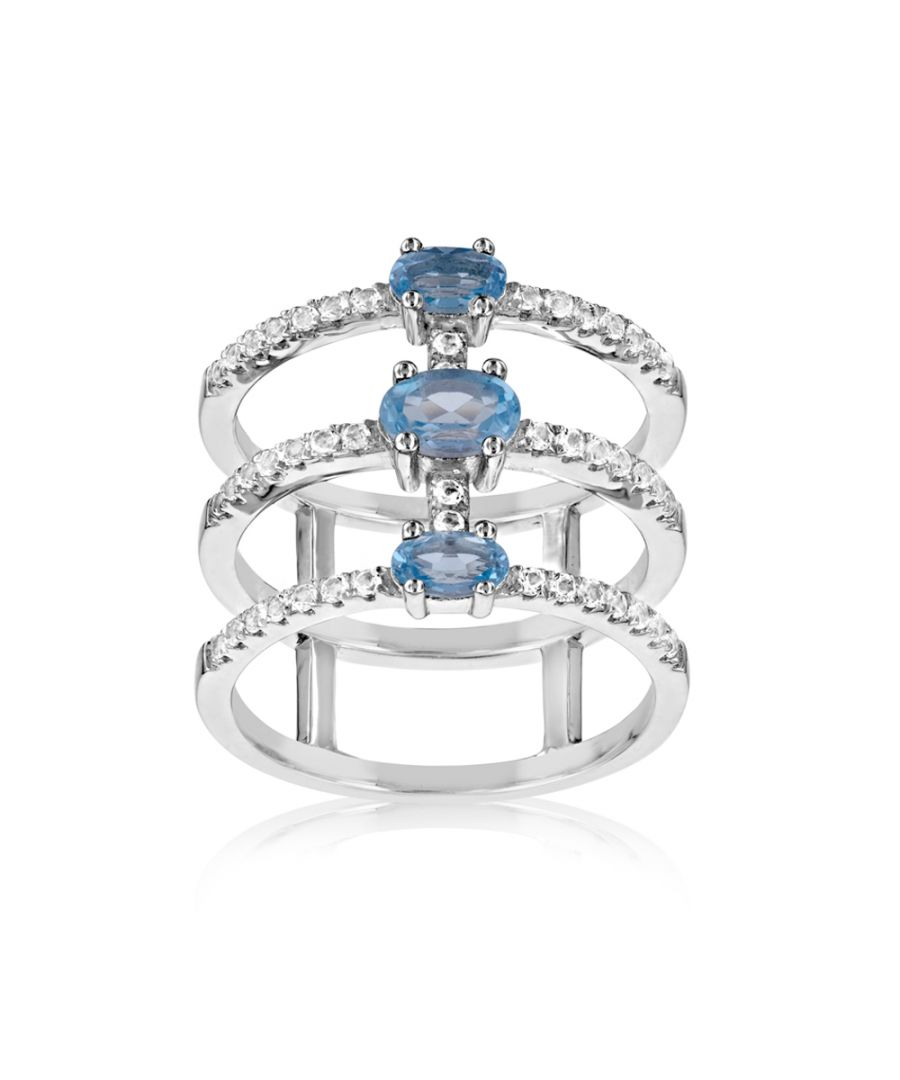 Image for Swarovski - 49 White and Blue Swarovski Crystal Zirconia Ring and 925 Silver