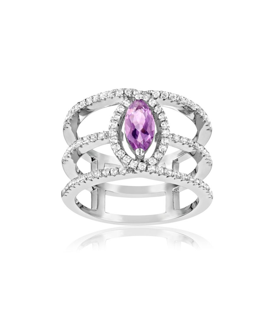 Image for Swarovski - 85 White and Purple Swarovski Crystal Zirconia and 925 Silver