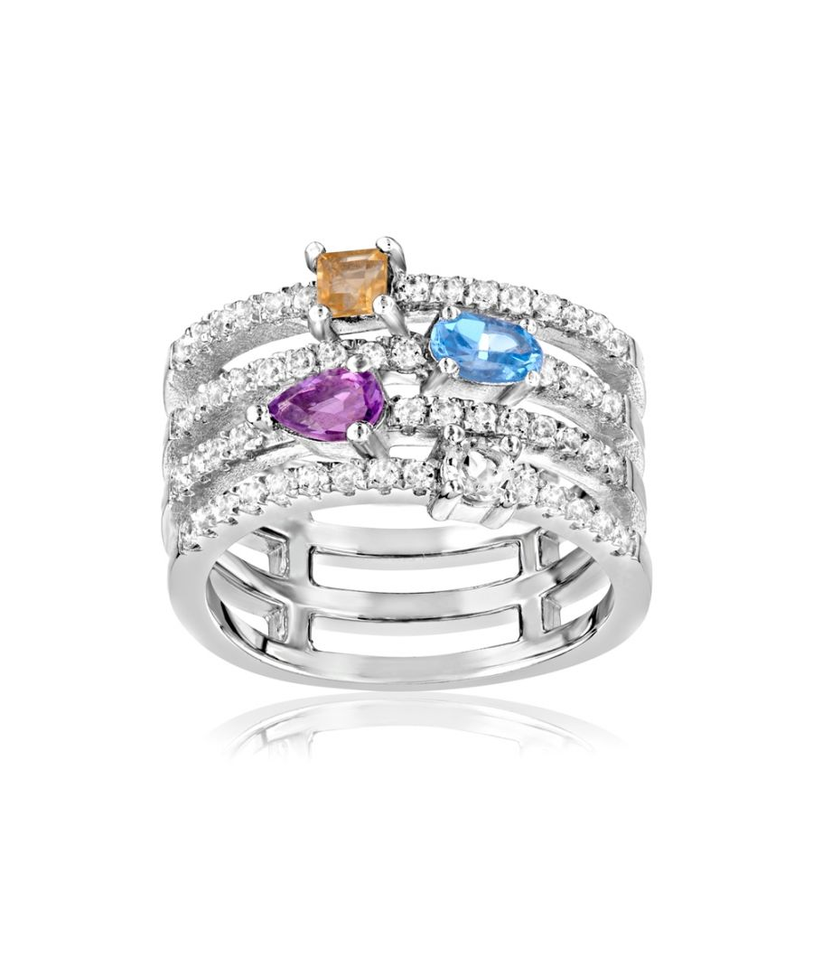 Image for Swarovski - 57 White, Blue, Yellow and Purple Swarovski Crystals Zirconia and 925 Silver