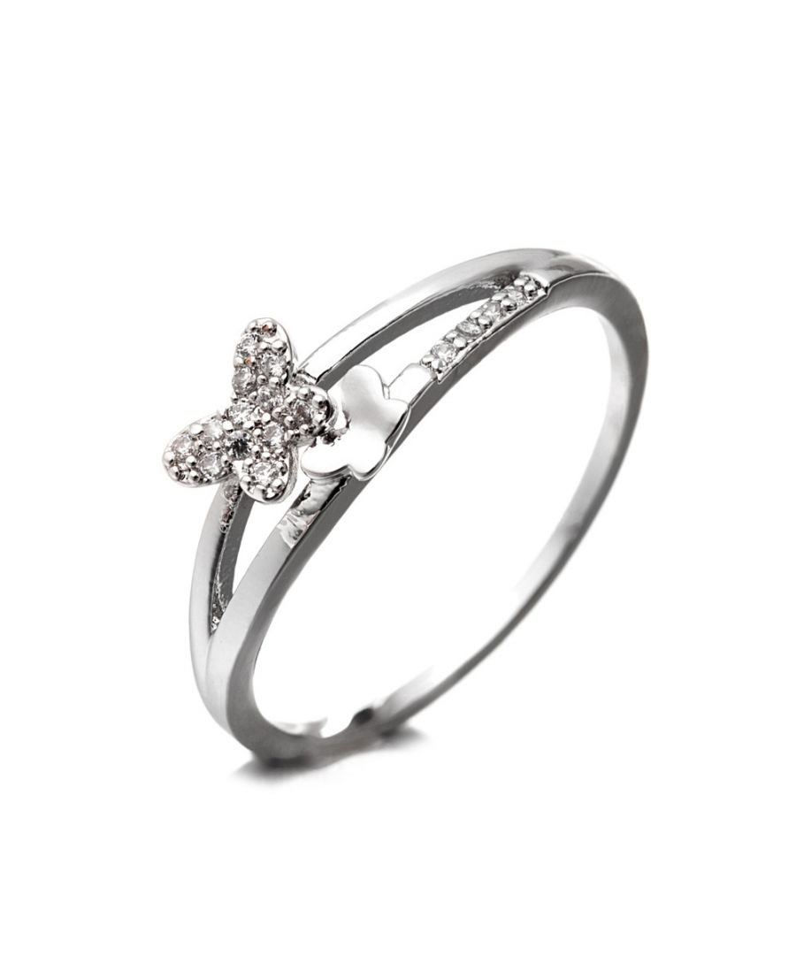Image for Rhodium Plated Butterfly Ring Cubic Zirconia and White