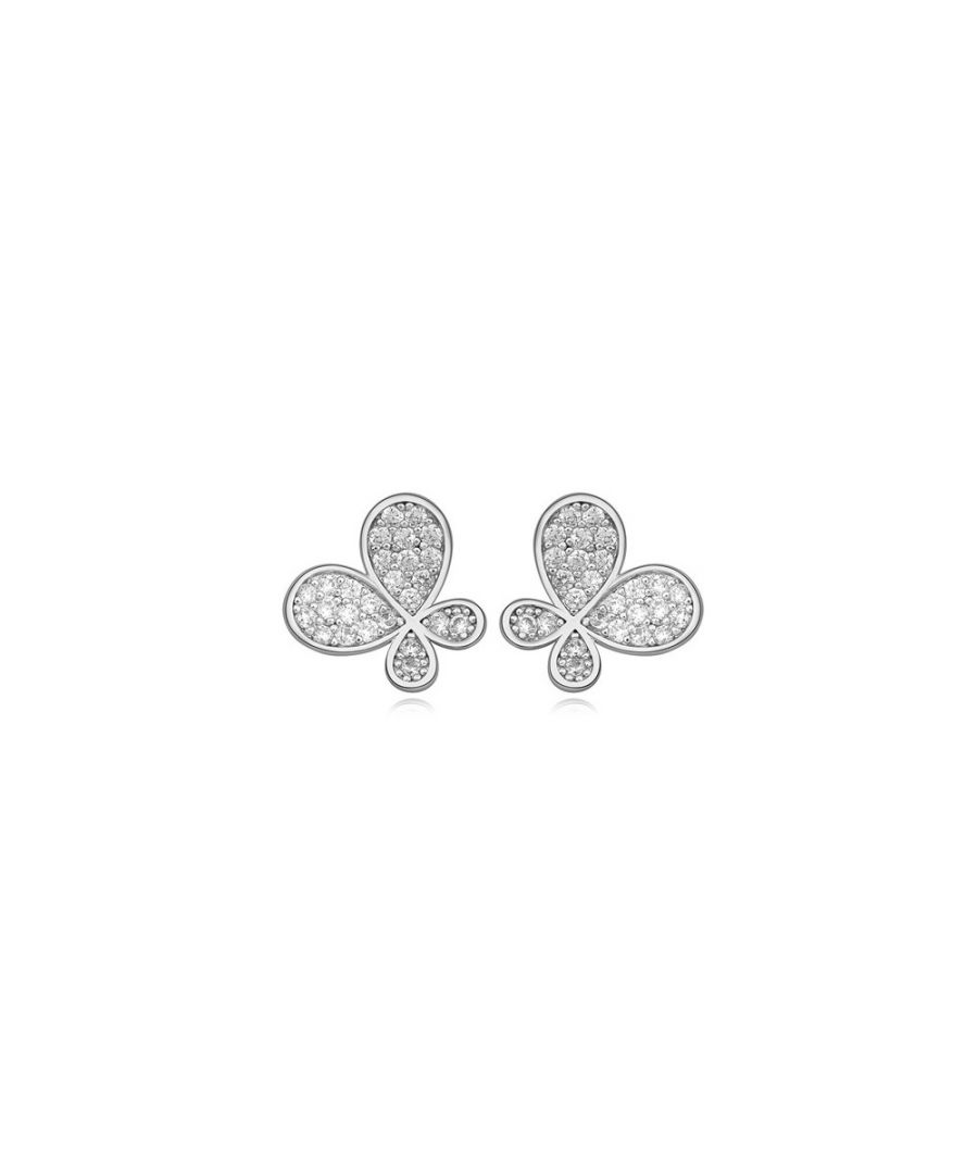 Image for Rhodium Plated Butterfly Earrings and Cubic Zirconia White
