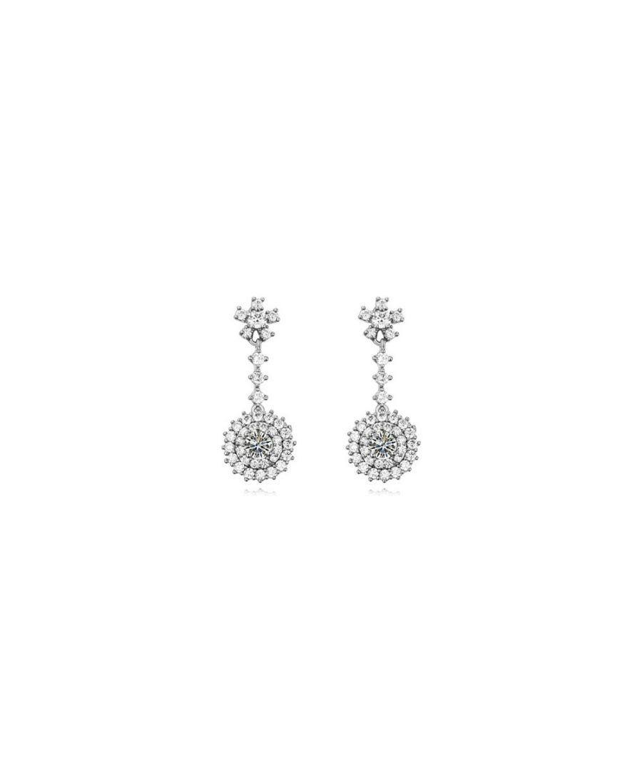 Image for Rhodium Plated Dangling Earrings and Cubic Zirconia White