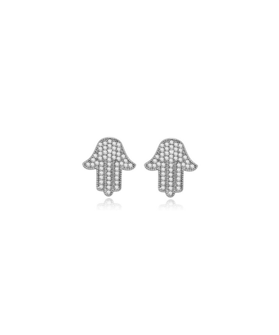 Image for Rhodium Plated Fatma's Hands Earrings and White Cubic Zirconia