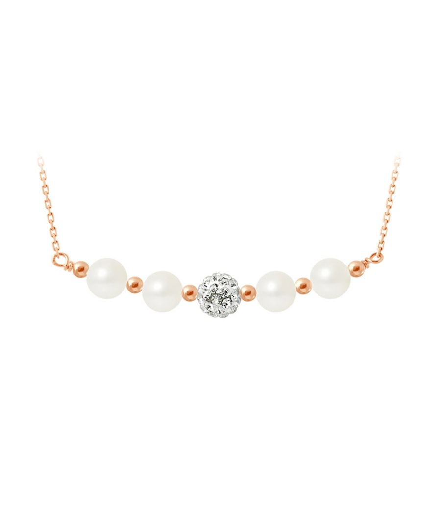 Image for White cultured pearls necklace, crystal and rose gold plated and 925 silver