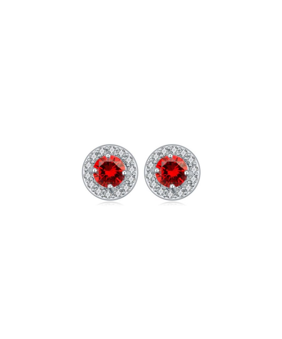 Image for Rhodium Plated Circle Earrings and Cubic Zirconia White and Red