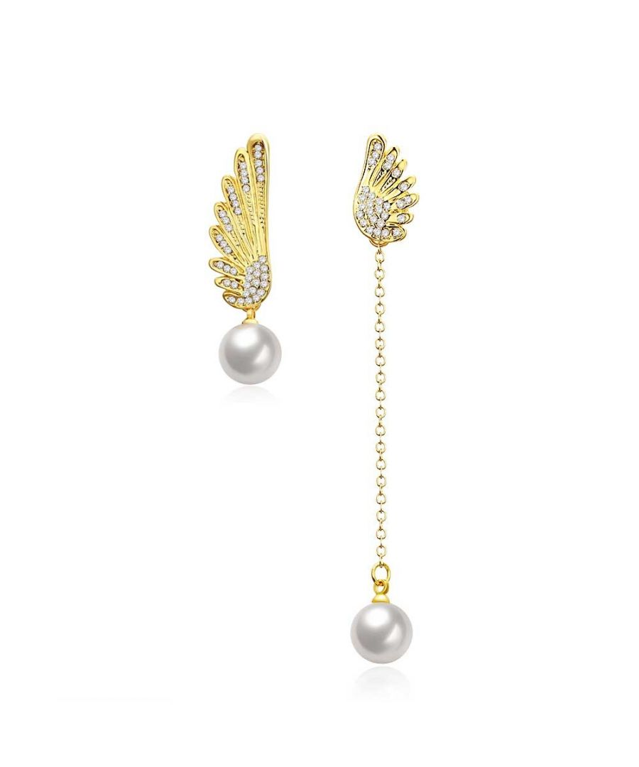 Image for Swarovski - Winged Women Dangling Earrings with White Swarovski Crystal and Pearls