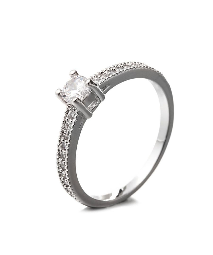 Image for Rhodium Plated Ring and White Cubic Zirconia