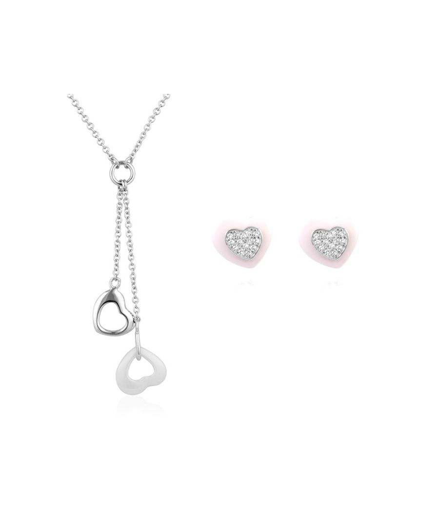 Image for Set : White Ceramic Heart Necklace and Earrings and 925 Silver