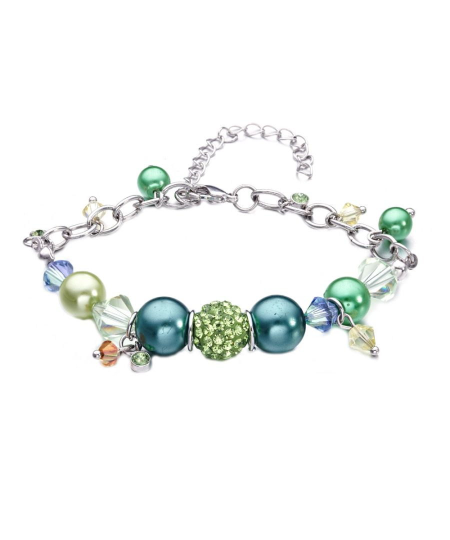 Image for Swarovski - Green Swarovski Crystal Elements, Pearls and Rhodium Charm's Bracelet