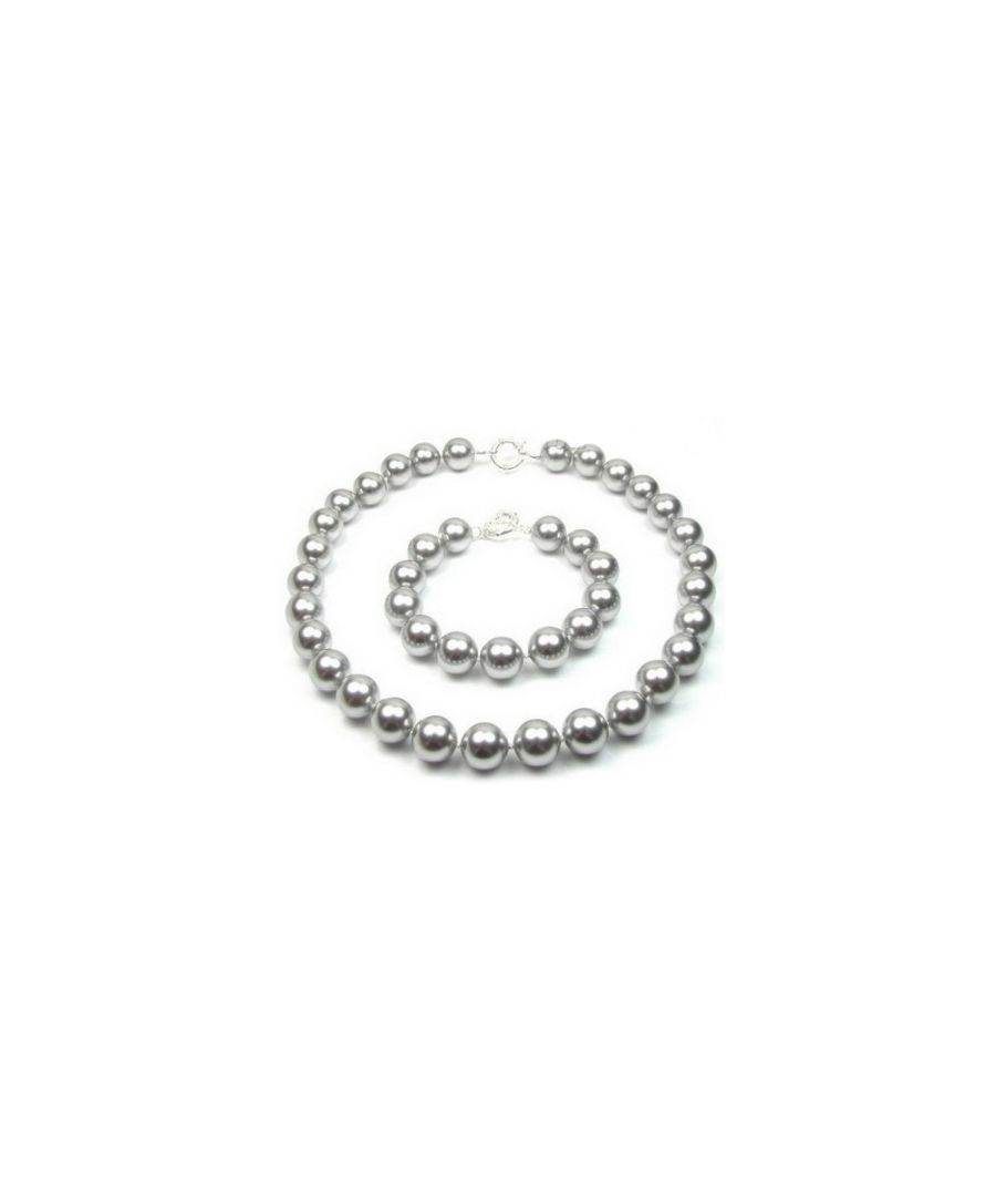 Image for Grey Pearl Necklace and Bracelet Set and 925 Silver