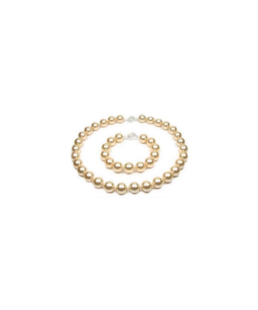 Image for Gold Pearl Necklace and Bracelet Set and 925 Silver