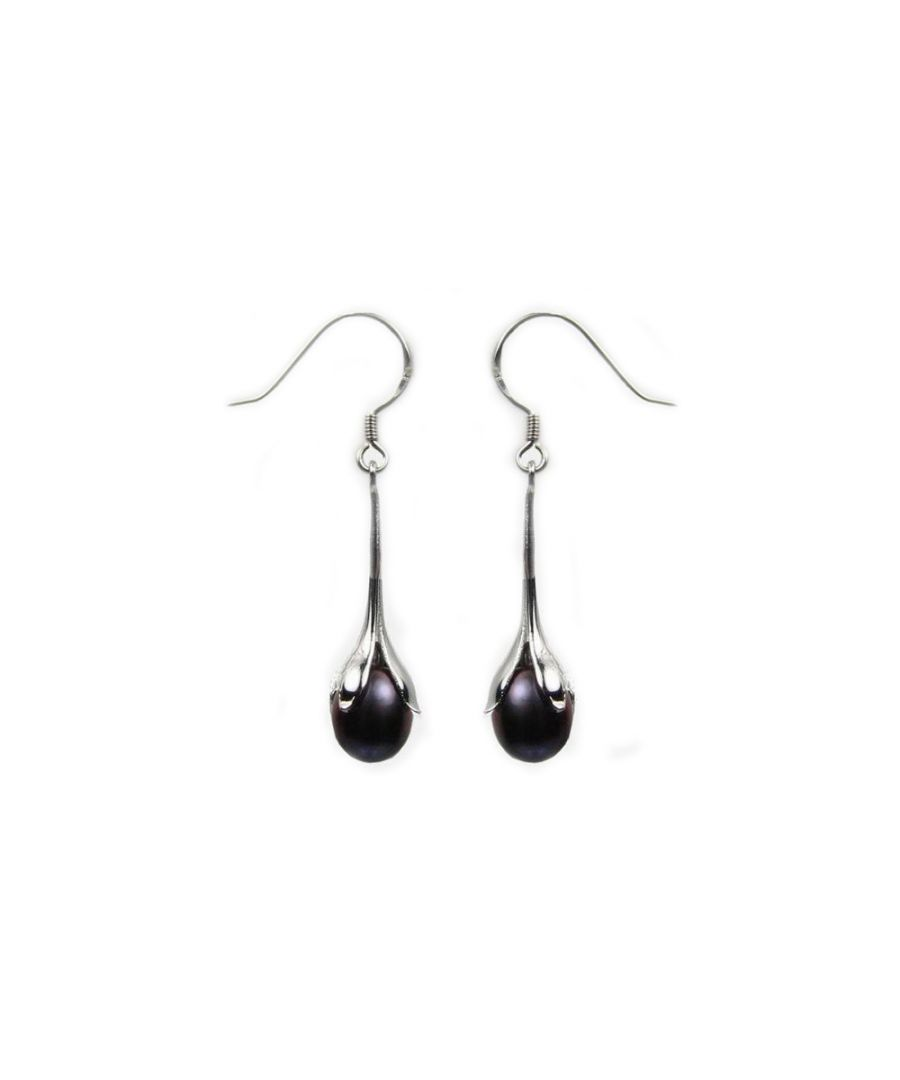 Image for Black Freshwater Pearl Earrings and Silver Mounting