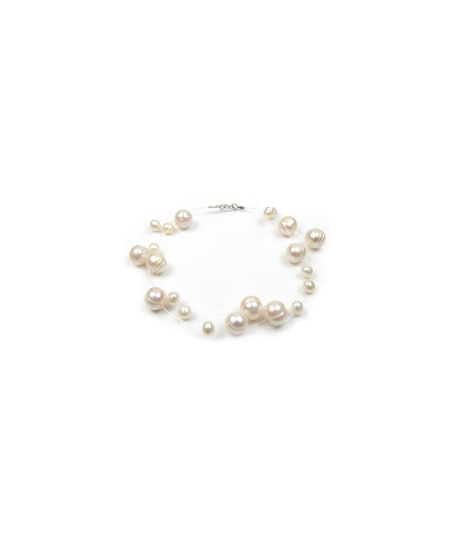 Image for White Freshwater Pearl 3 Rows Bracelet and Silver Clasp