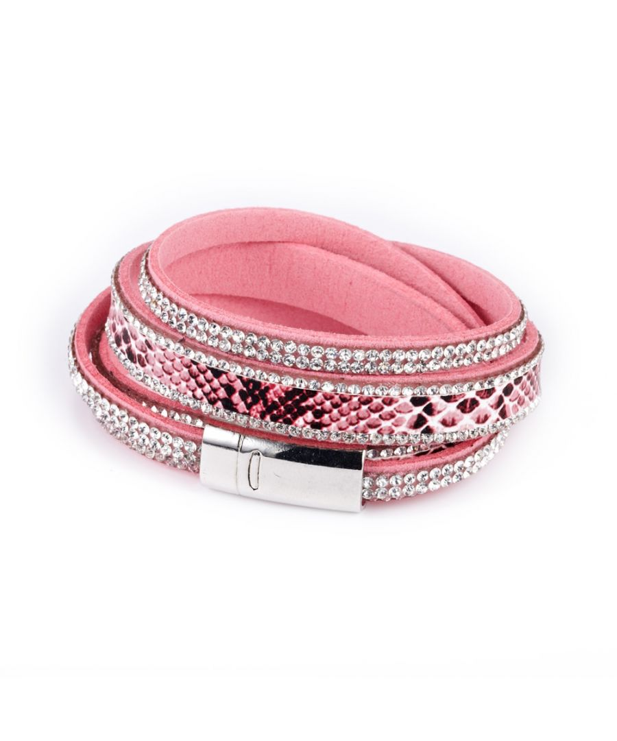 Image for Swarovski - White Swarovski Crystal Elements 2 rows Bracelet and Pink leather