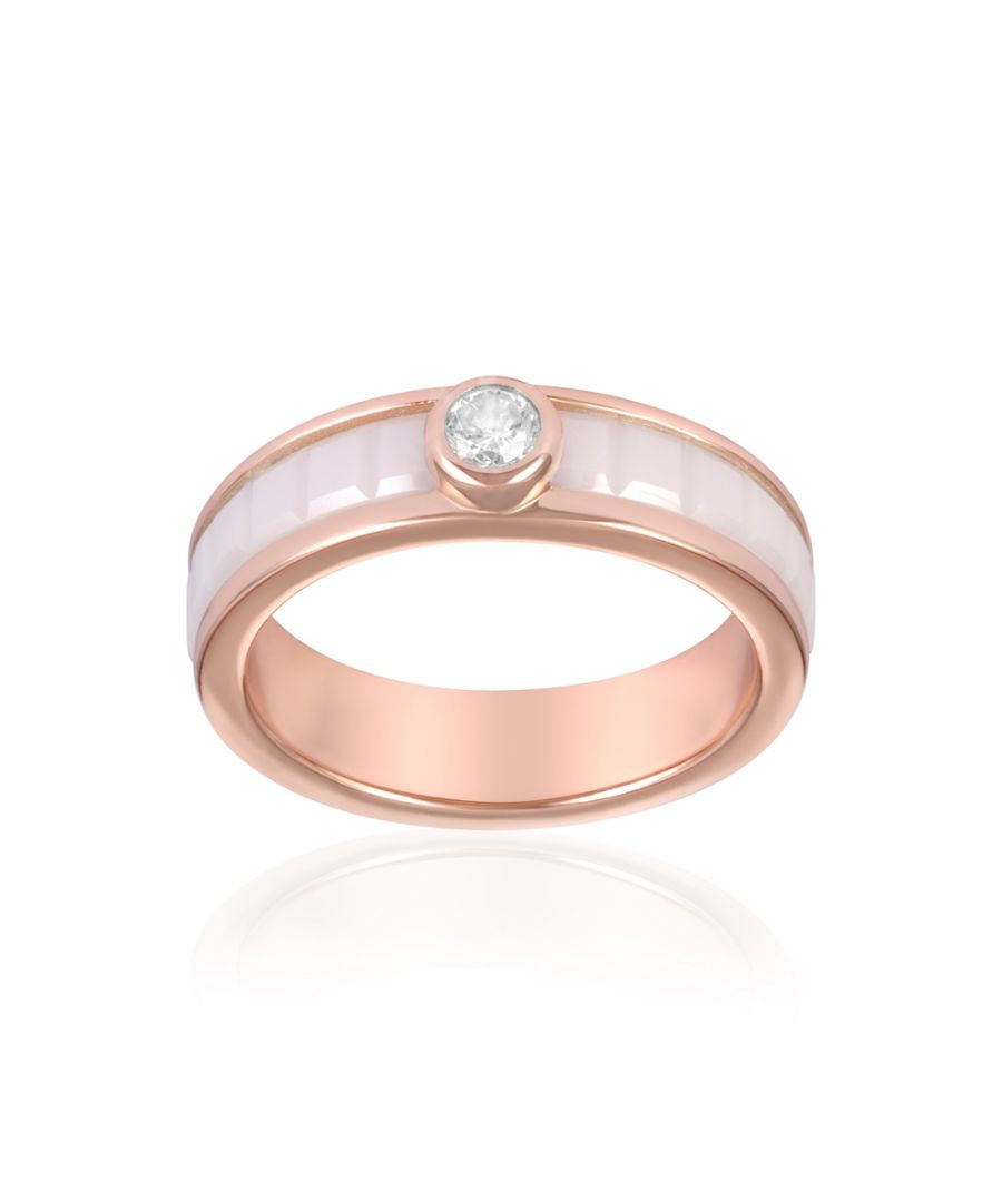 Image for Rose Gold Plated, White Ceramic and White Cubic Zirconia Ring