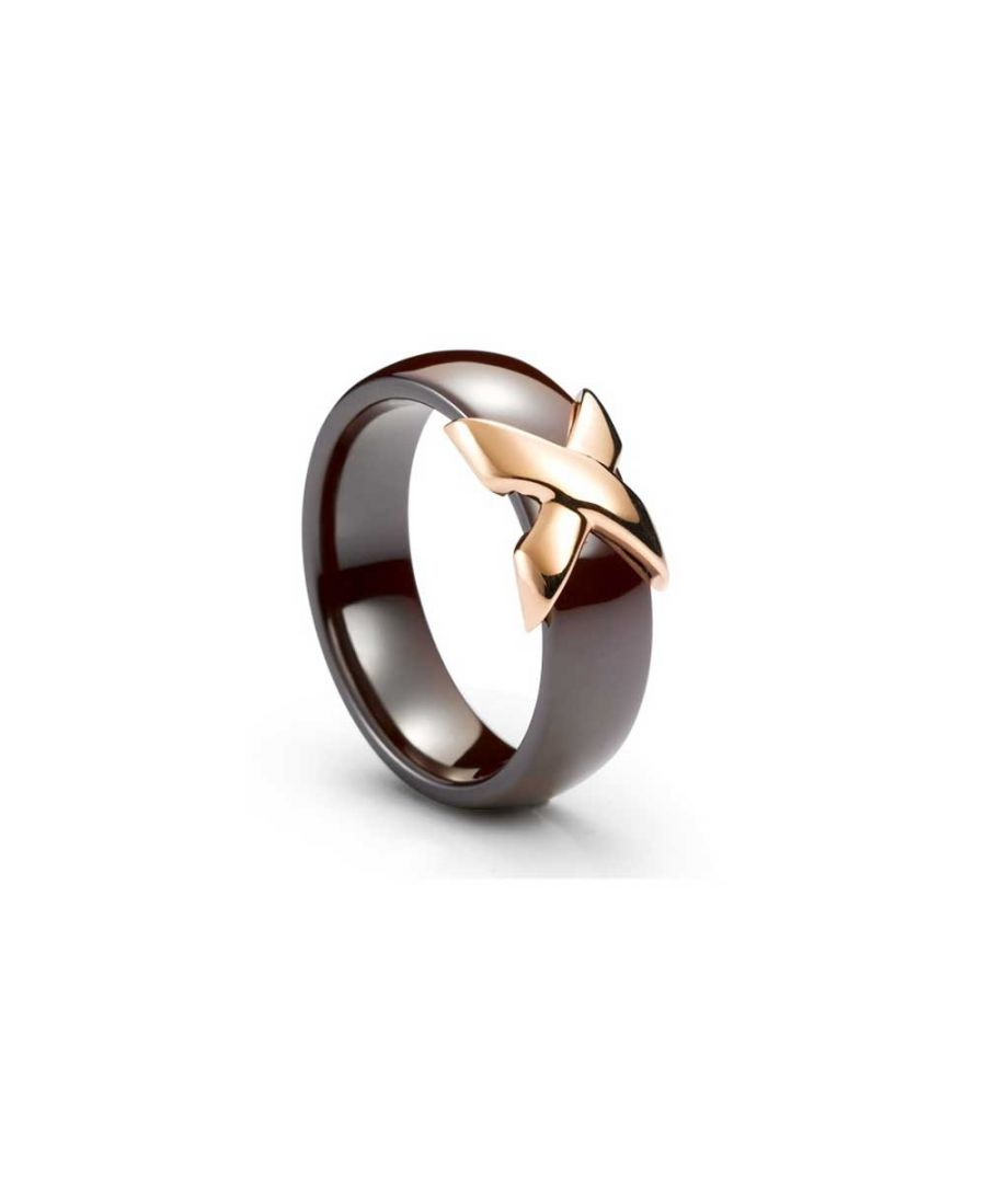 Image for Yellow Gold Plated, Brown Ceramic Ring