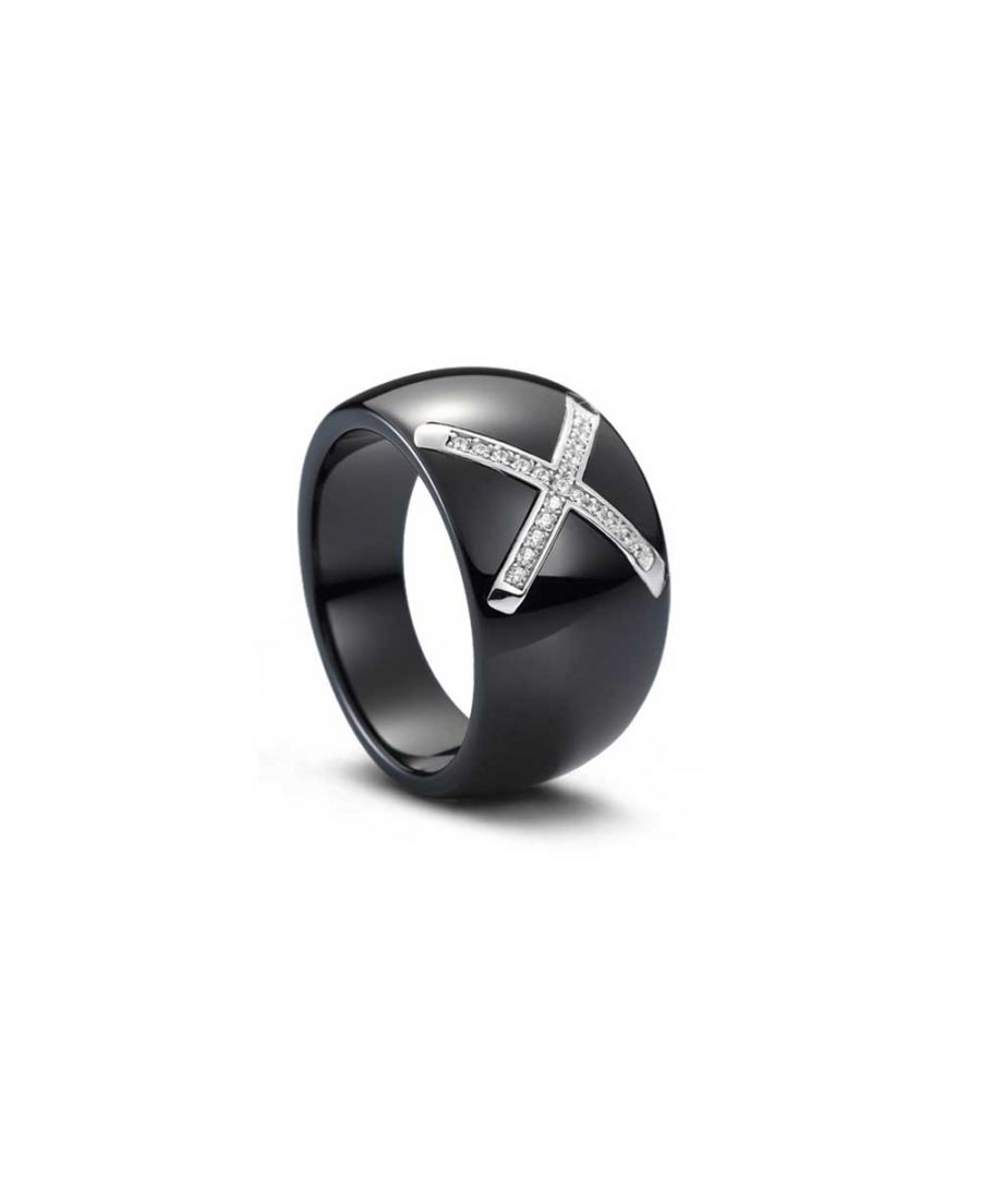 Image for Silver, Black Ceramic and White Cubic Zirconia Ring