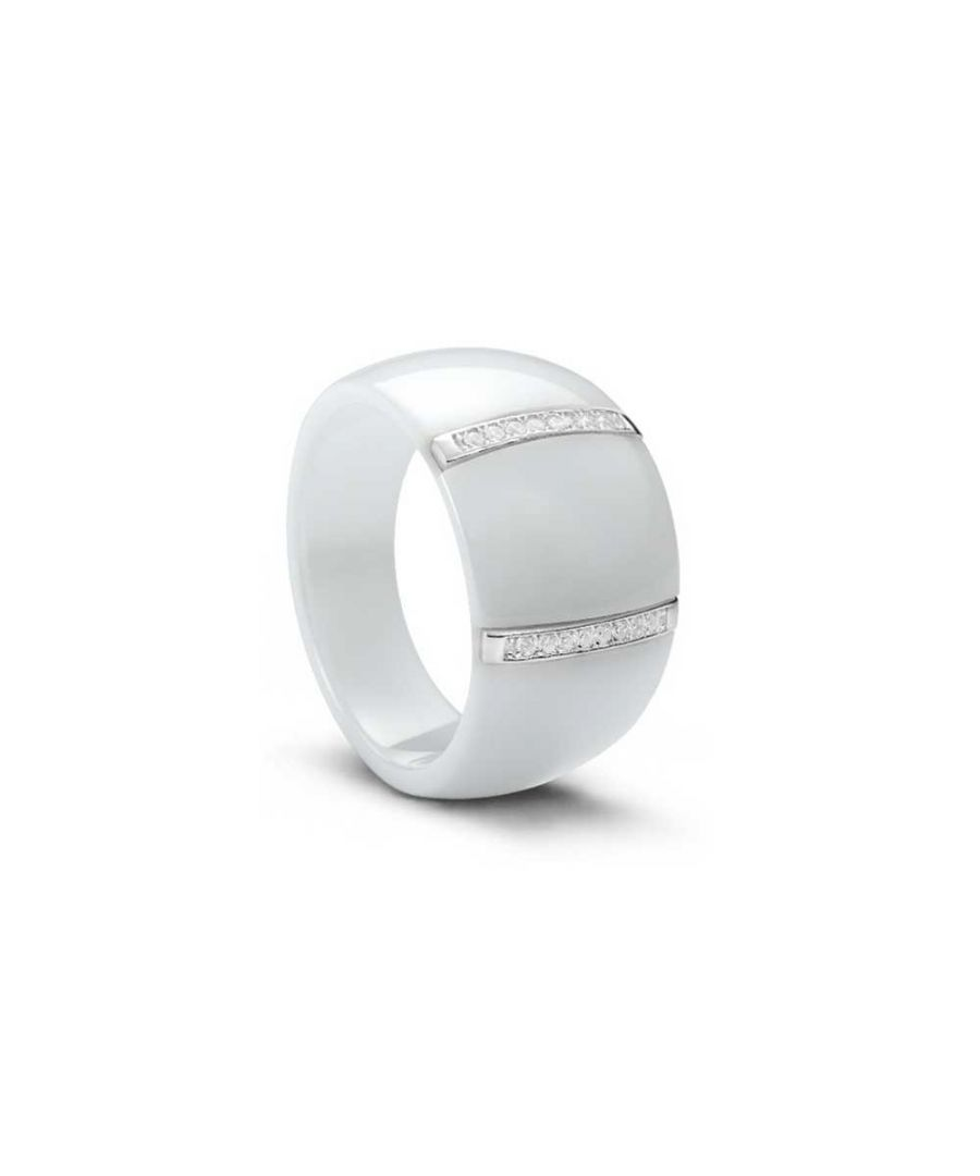 Image for Silver, White Ceramic and White Cubic Zirconia Ring