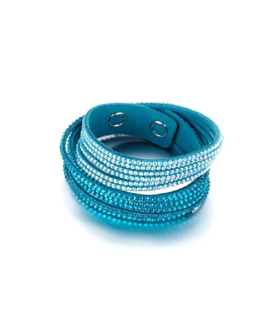 Image for Swarovski - White and Blue Swarovski Crystal Elements and Turquoise Velvet 3 Rows Bracelet