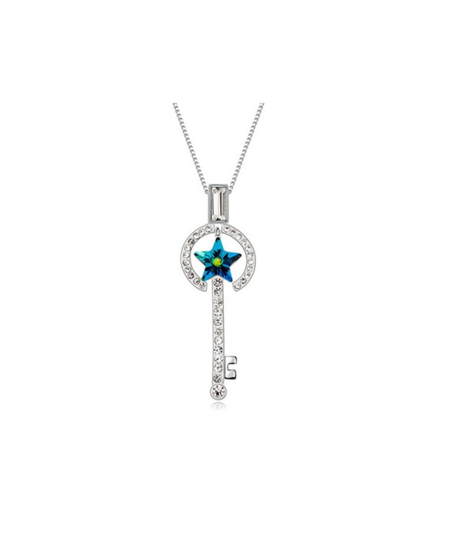 Image for Swarovski - Turquoise and White Swarovski Element Crystal Key and Star Pendant