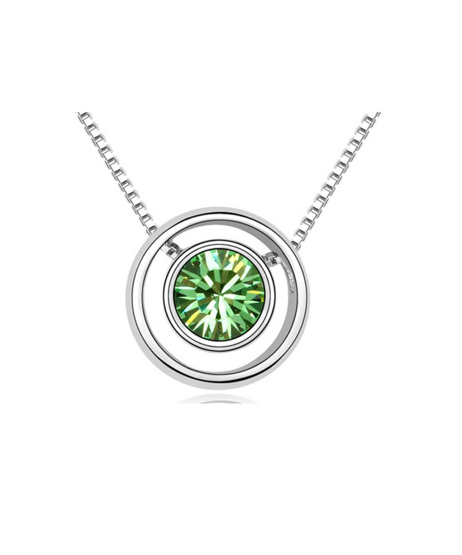 Image for Swarovski - Green Crystal Swarovski Element and Circle Necklace