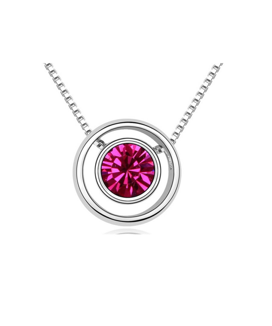 Image for Swarovski - Pink Crystal Swarovski Element and Circle Necklace