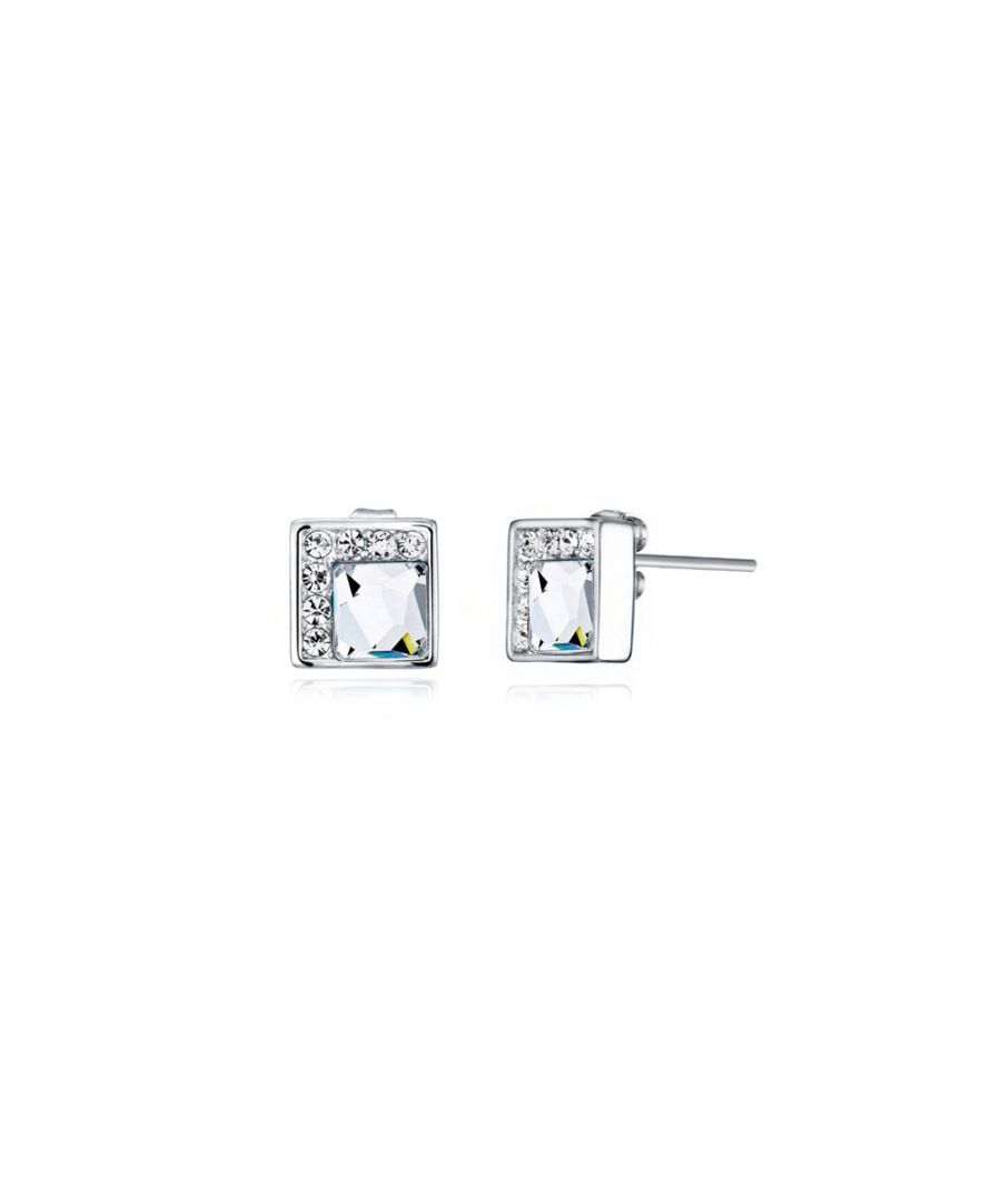 Image for Swarovski - White Swarovski Elements Crystal Earrings and Rhodium Plated