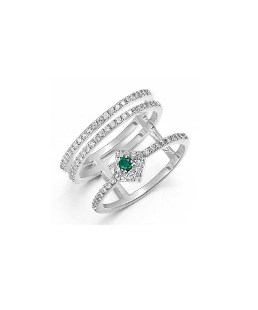 Image for Swarovski - White and Green Swarovski Elements Crystal Ring