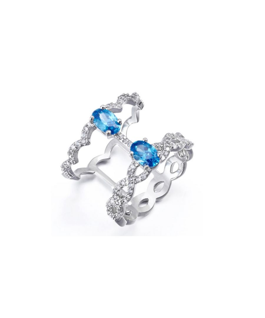 Image for Swarovski - White and Blue Swarovski Elements Crystal Ring