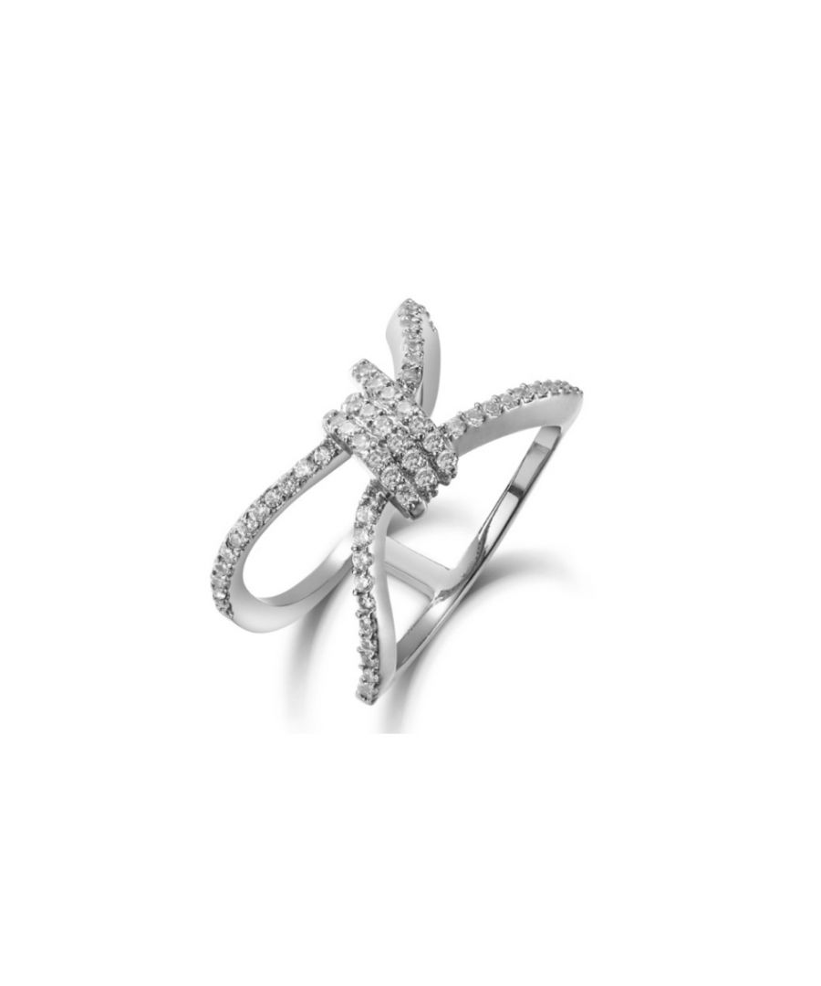 Image for Swarovski - White Swarovski Elements Crystal and Rhodium Plated Ring