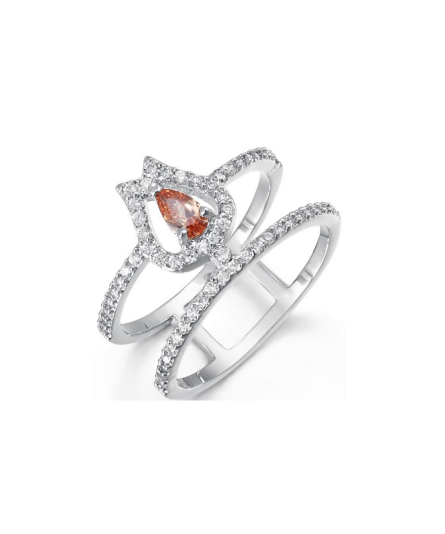 Image for Swarovski - White and Orange Swarovski Elements Crystal Ring