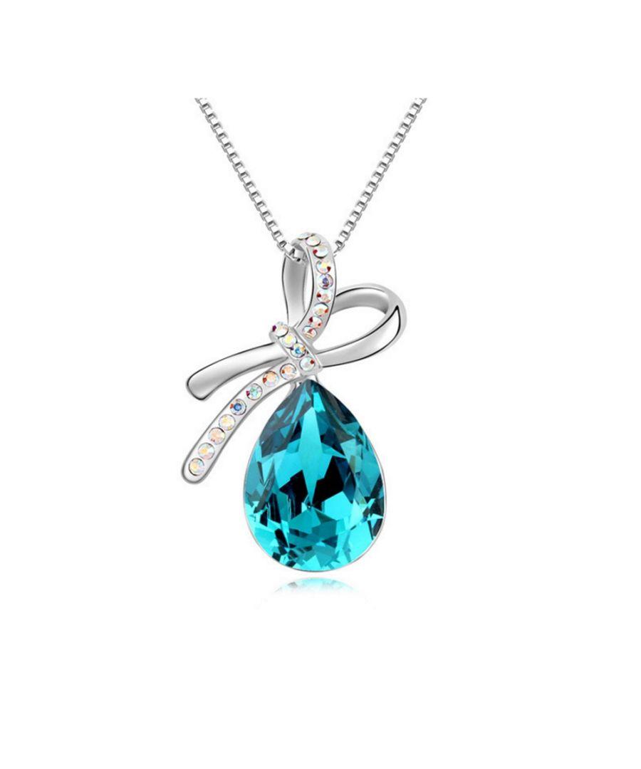 Image for Swarovski - Blue Crystal Swarovski Elements Knot Pendant and Gold Plated White